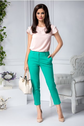 Pantalon Aby verde office cu dunga
