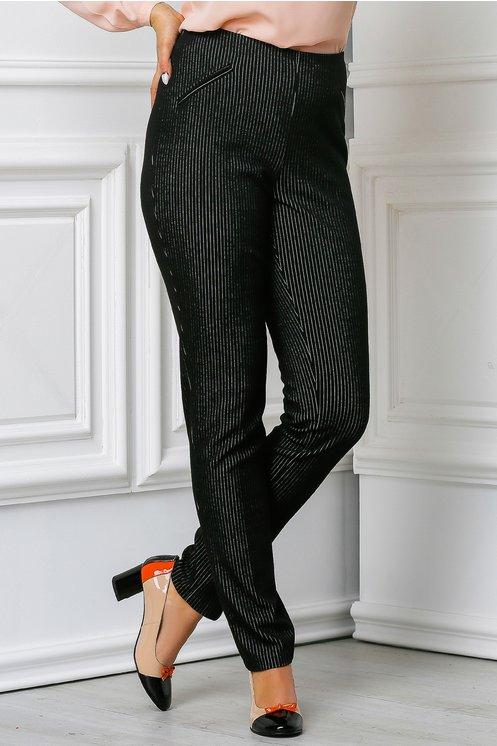 Pantalon Amanda negru office in dungi