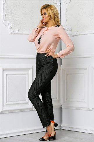 Pantalon Amanda negru office in dungi