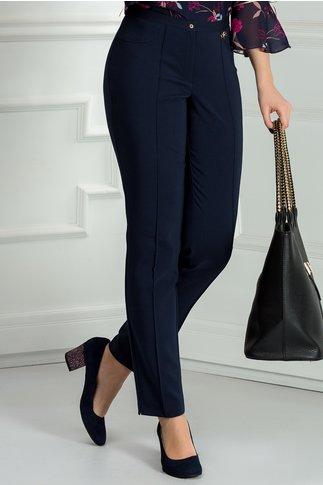 Pantalon bleumarin office cu dunga