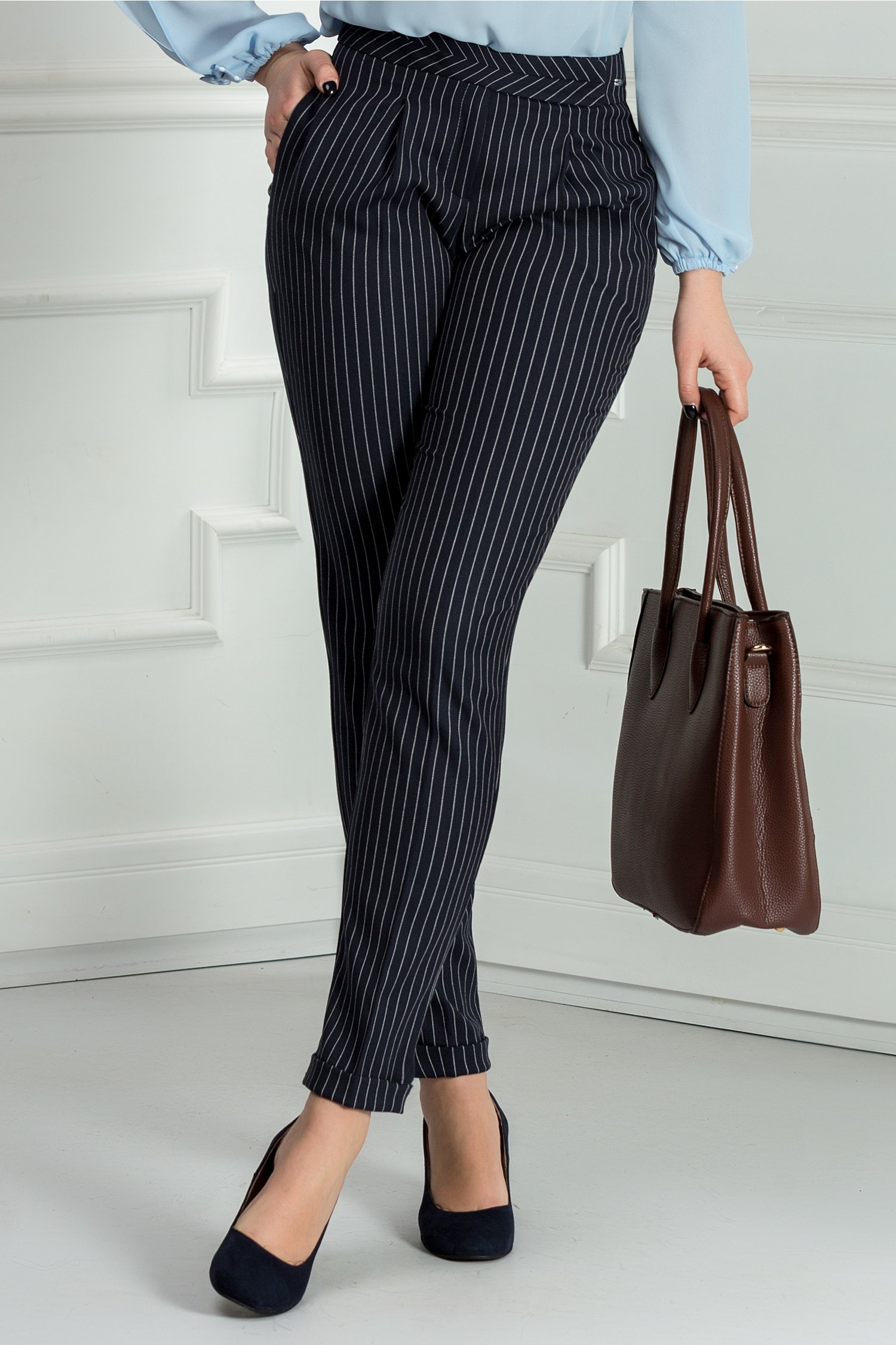 Pantalon Dalia bleumarin in dungi office