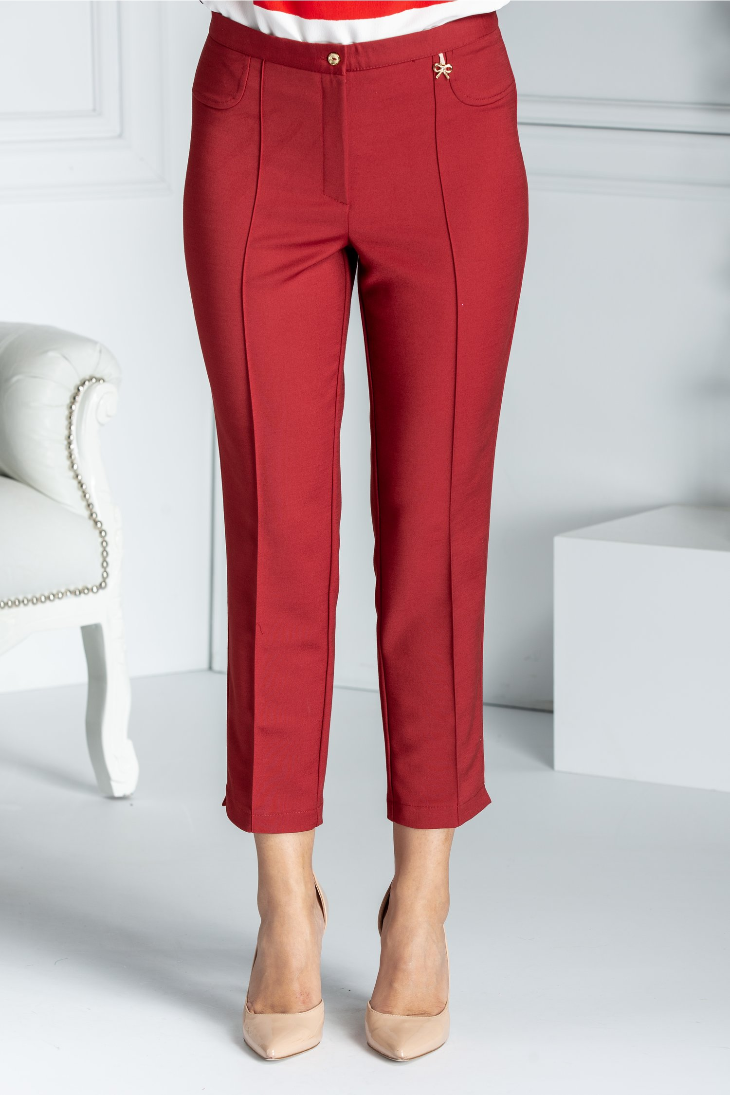 Pantalon Dalida bordo cu dunga office
