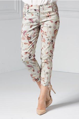 Pantalon dama din bumbac cu imprimeuri colorate