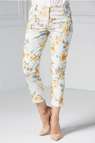 Pantalon dama gri cu imprimeu floral oranj