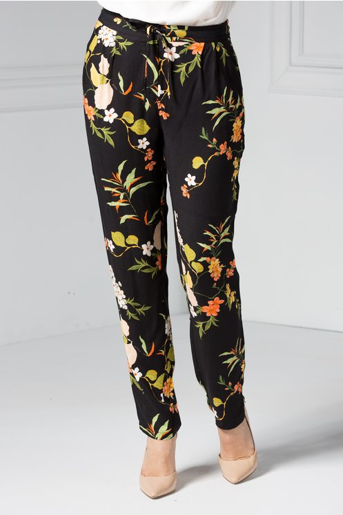 Pantalon dama negri cu imprimeu floral colorat