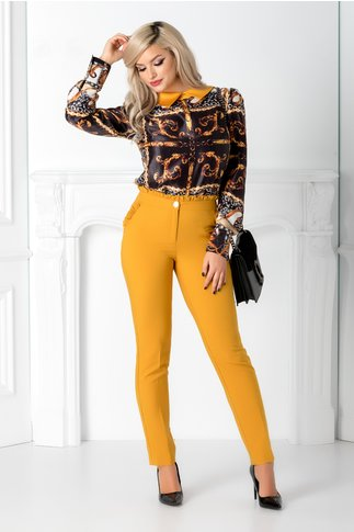 Pantalon galben mustar cu volanas in talie si la buzunare