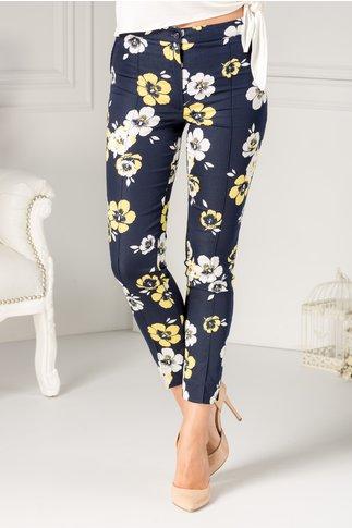 Pantalon Ladonna bleumarin cu flori galbene