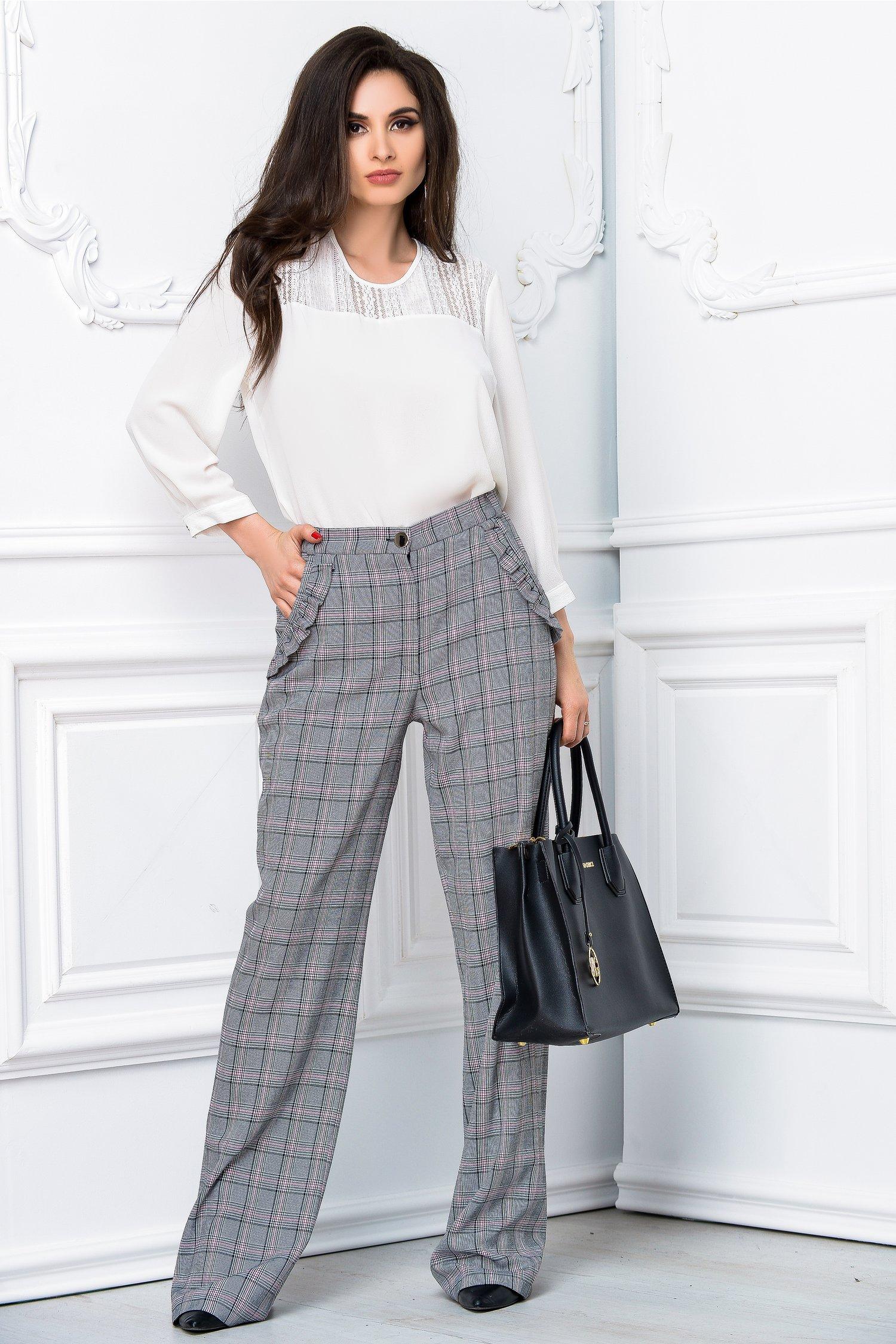 Pantalon Leonard Collection evazat gri office