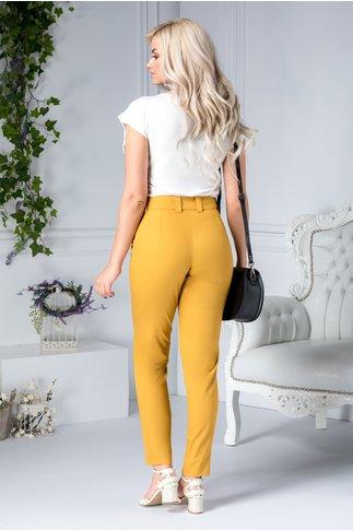 Pantalon Moze galben mustar drept cu buzunare