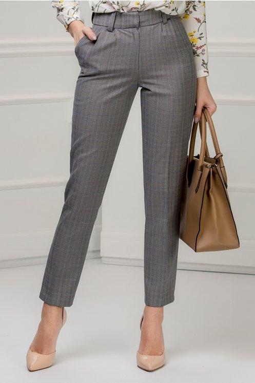 Pantalon Moze gri in carouri office cu dunga