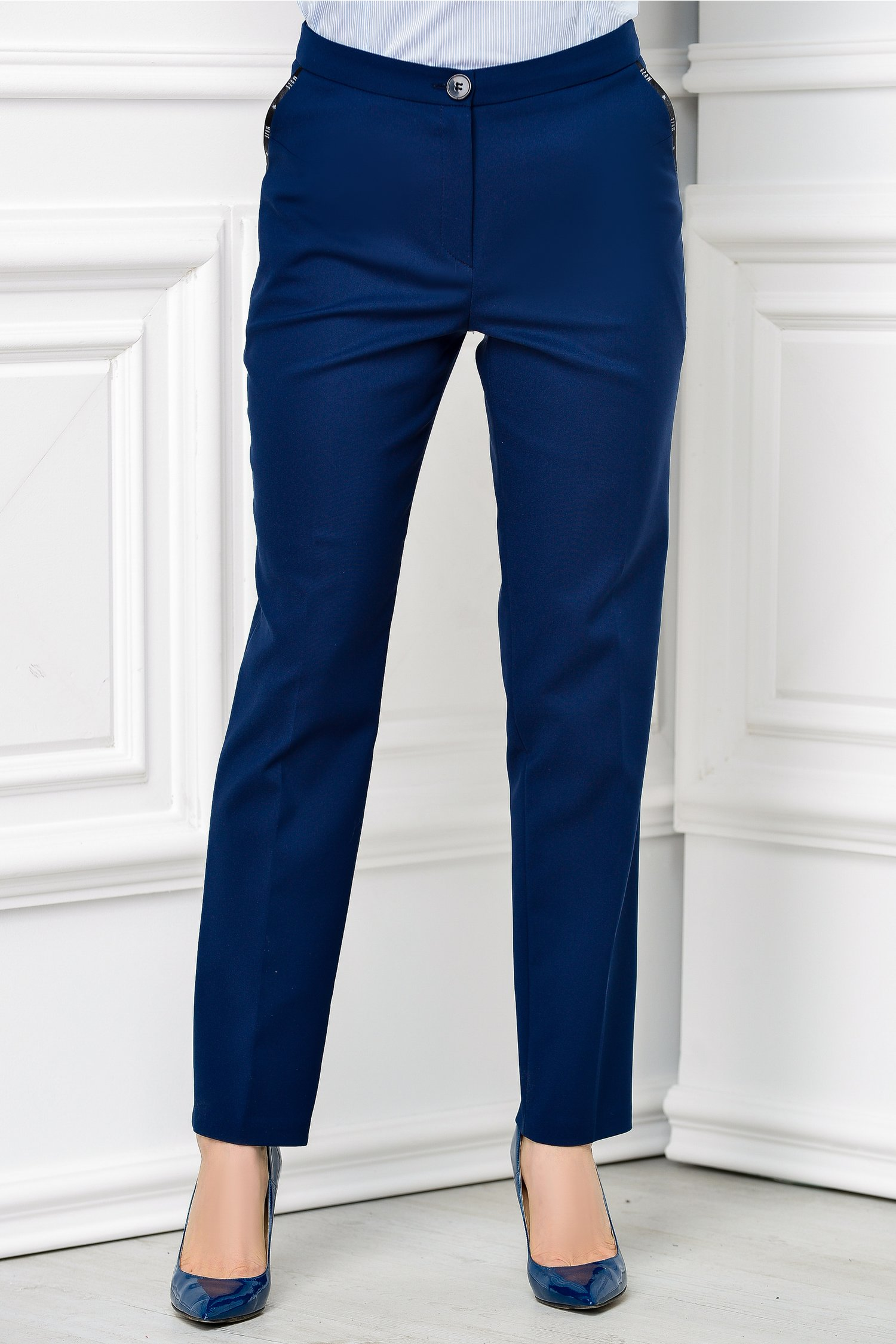 Pantalon Moze office slim bleumarin