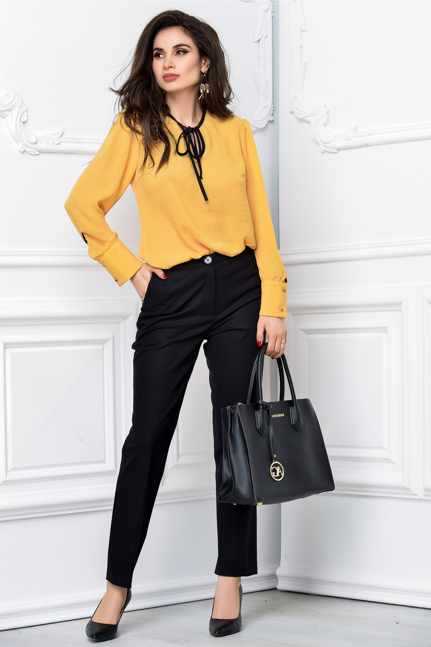 Pantalon Moze office slim negru