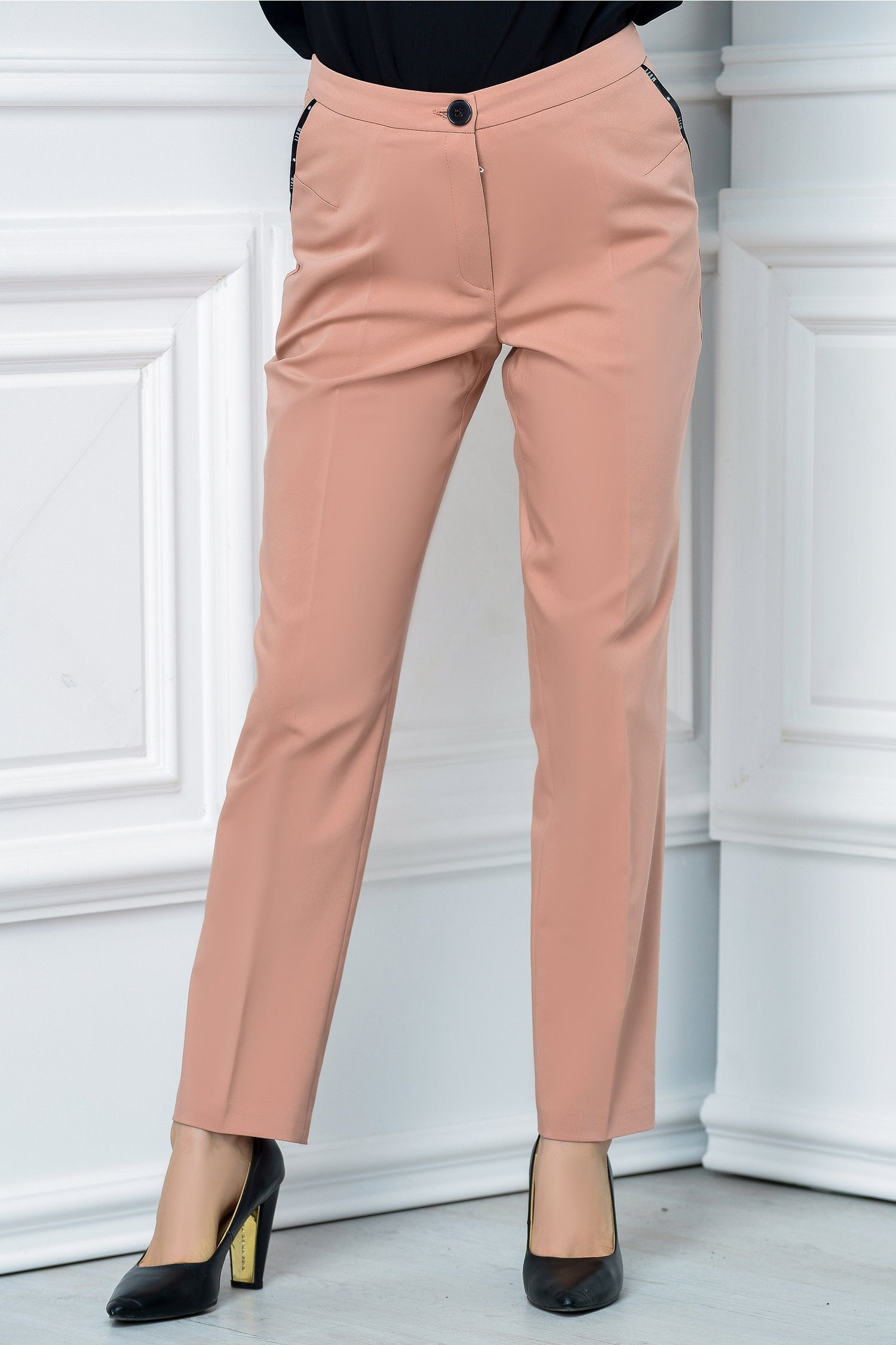 Pantalon Moze office slim roz praf