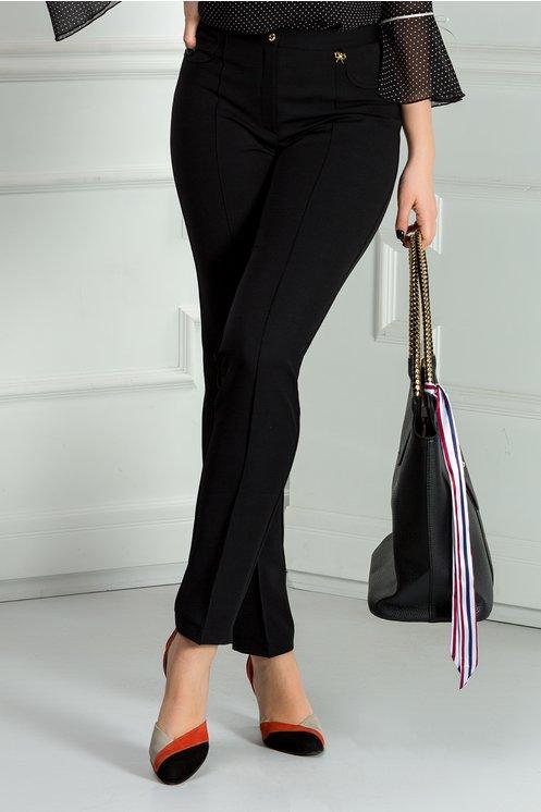 Pantalon negru office cu dunga