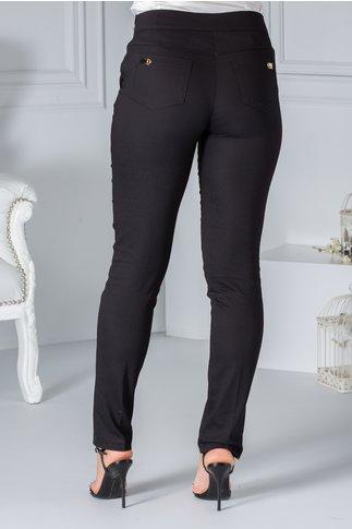 Pantalon Fofy office negru cu aplicatii aurii