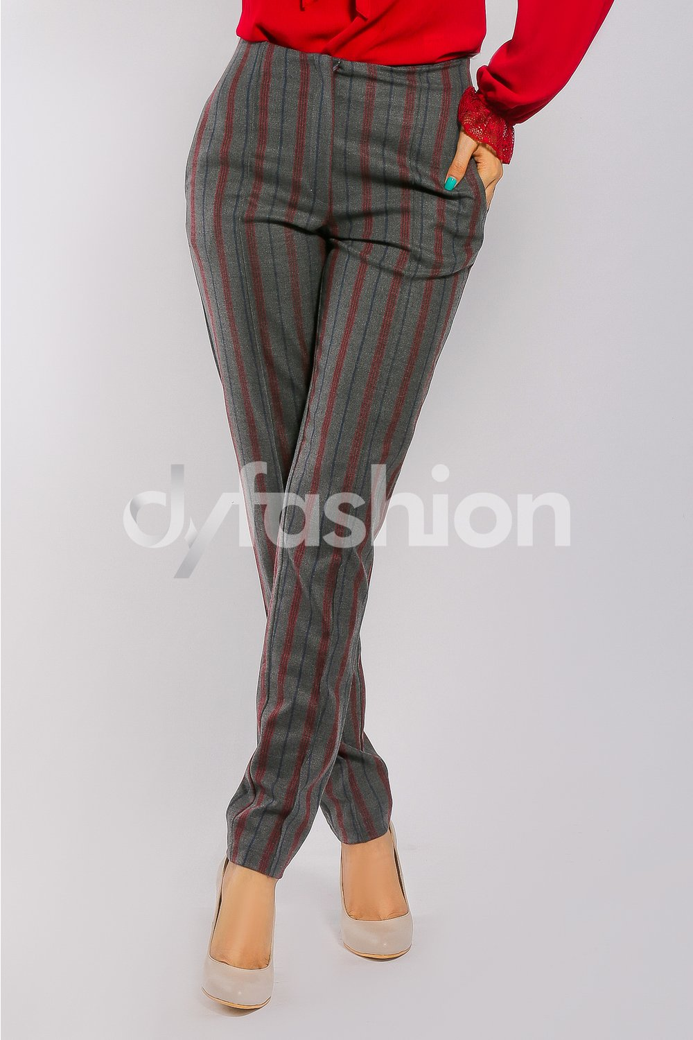Pantalon Rena Office cu Dungi Bordo