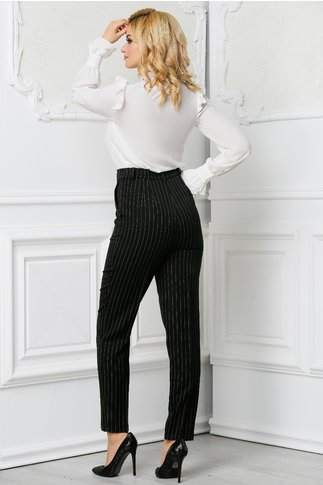 Pantalon Xara negru office in dungi din stofa