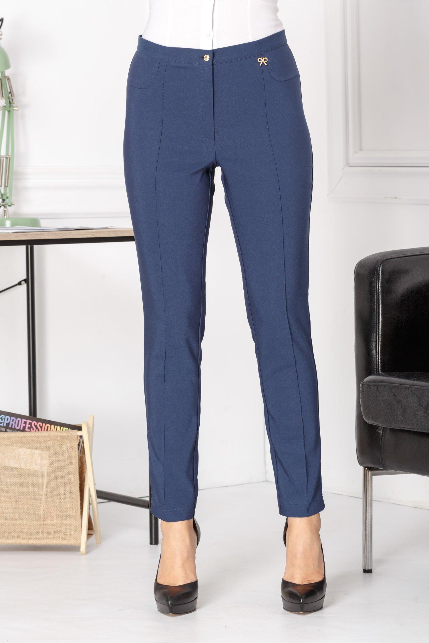 Pantaloni Abby bleumarin office cu dunga