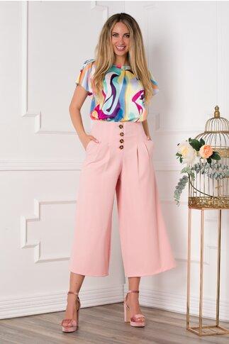 Pantaloni Addie roz lejeri cu pliuri in talie