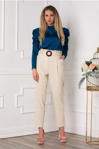Pantaloni Alia bej cu incretitura la talie
