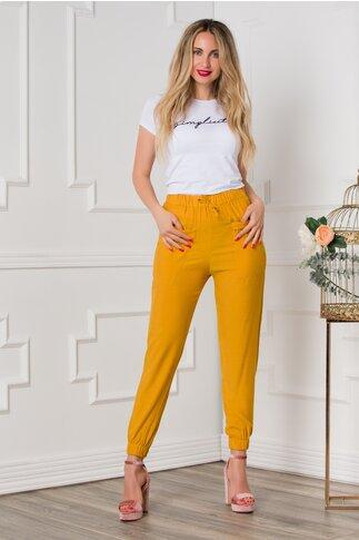 Pantaloni Alice lejeri galben mustar