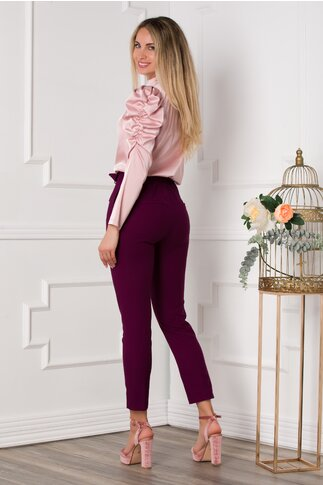 Pantaloni Alis mov pruna cu elastic si cordon in talie