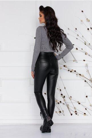 Pantaloni Amy din piele ecologica cu talie inalta si buzunare false
