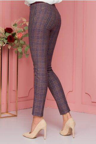 Pantaloni Ana grena cu carouri si elastic in talie