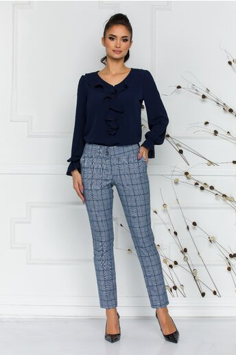 Pantaloni Ara gri cu carouri albastre