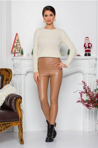 Pantaloni Arabella bej din piele ecologica