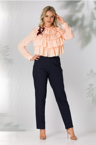 Pantaloni bleumarin pana cu buzunare false