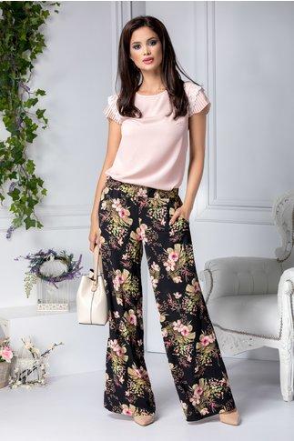 Pantaloni Blossom vaporosi negri cu flori roz