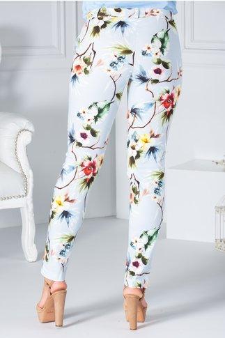 Pantaloni casual blue cu imprimeu floral
