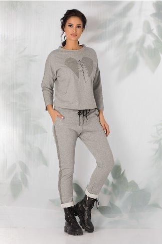 Pantaloni casual gri cu lampas