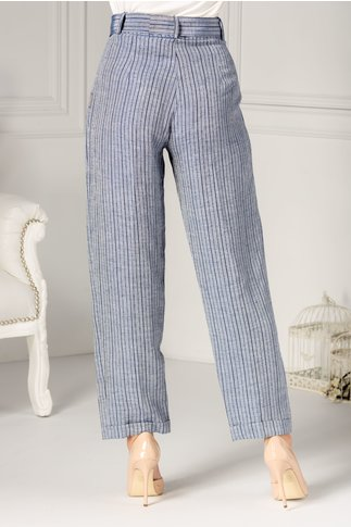 Pantaloni casual vaporosi albastri cu dungi