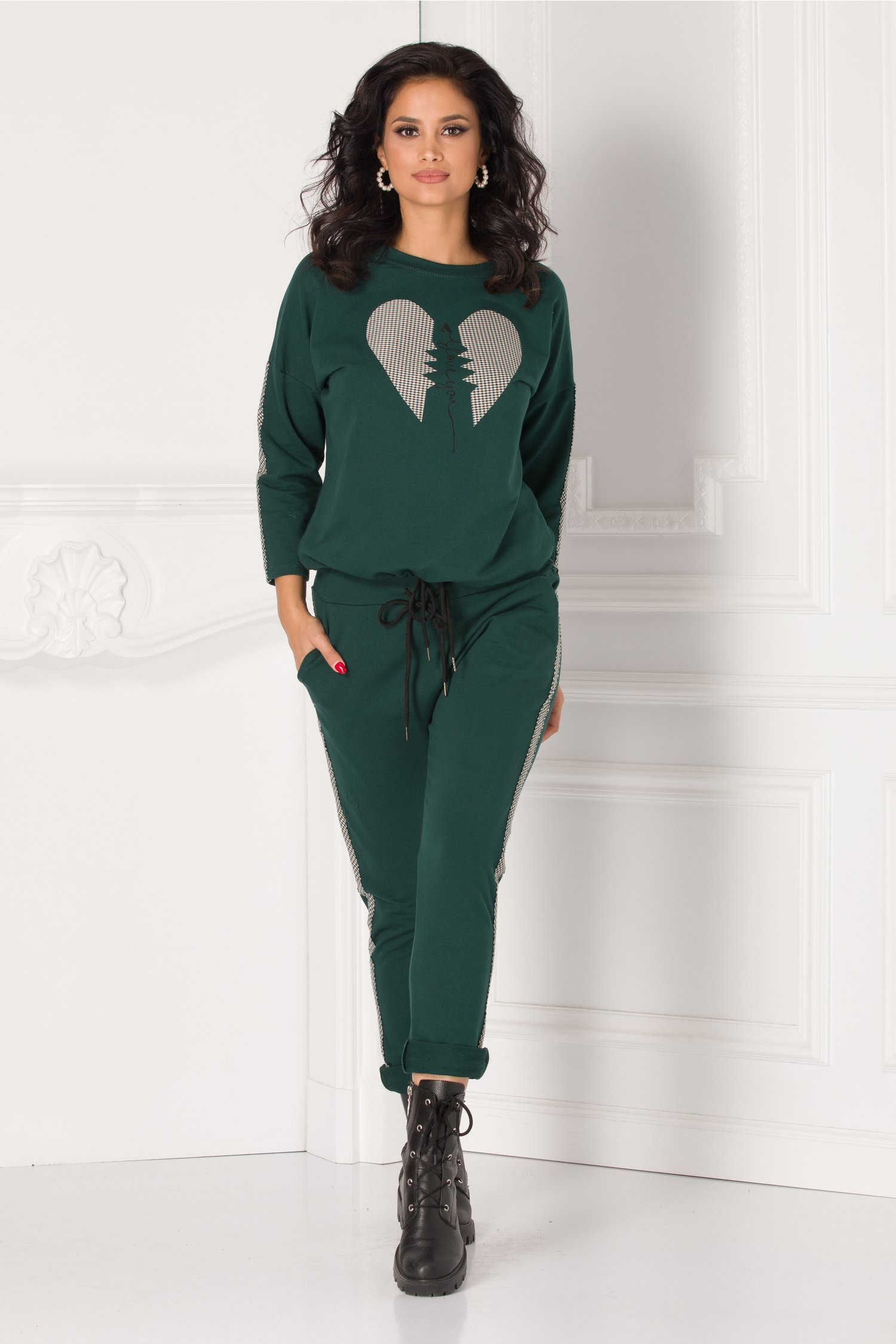 Pantaloni casual verzi cu lampas