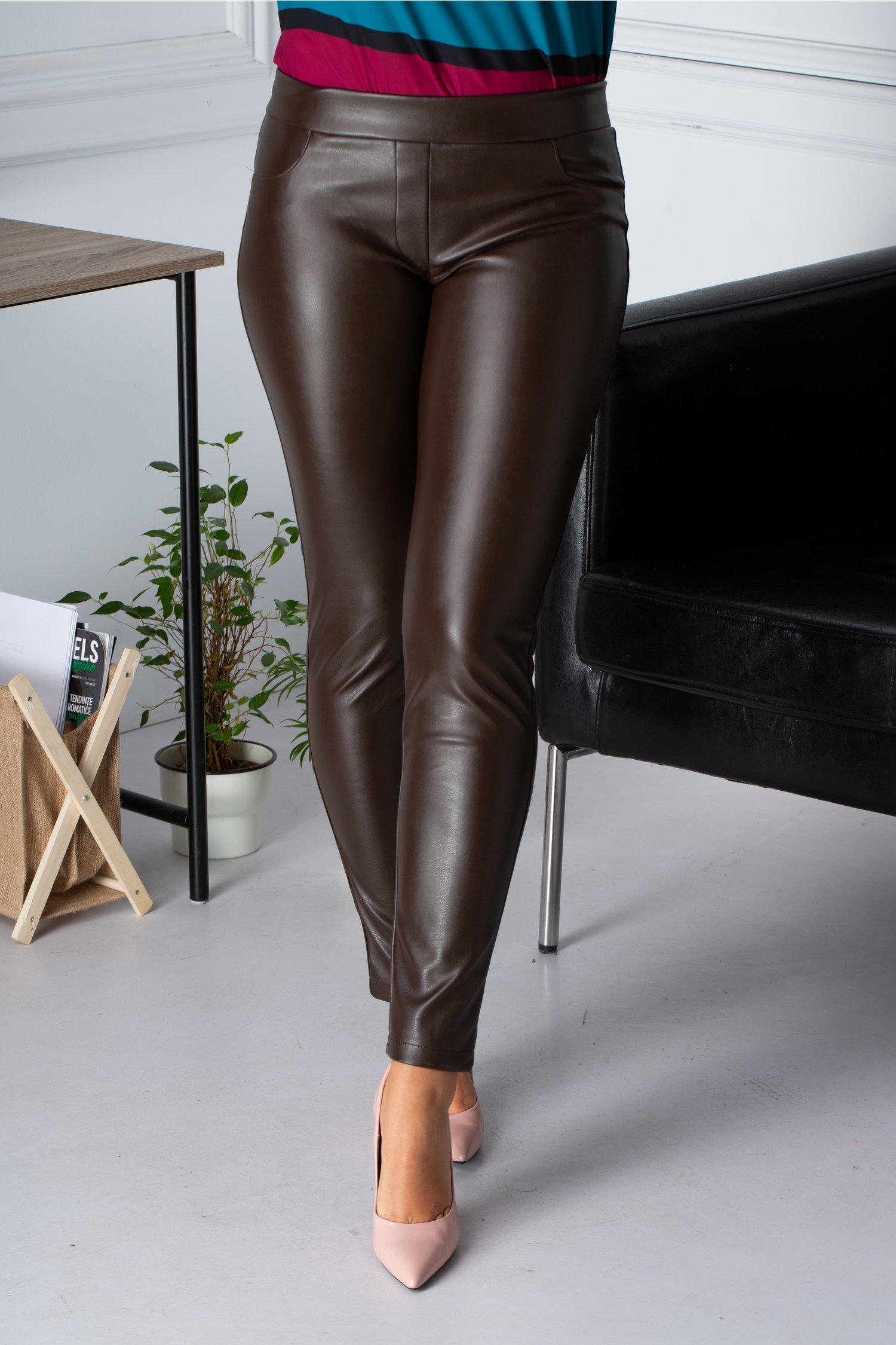 Pantaloni Cory Maro Din Piele Ecologica
