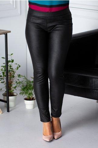 Pantaloni Cory negri din piele ecologica