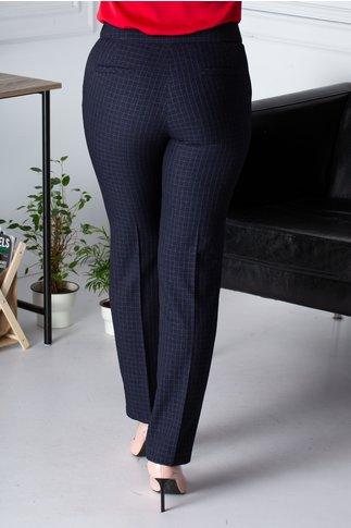 Pantaloni Cristina office bleumarin cu carouri
