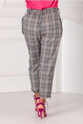 Pantaloni cu carouri roz si talie inalta