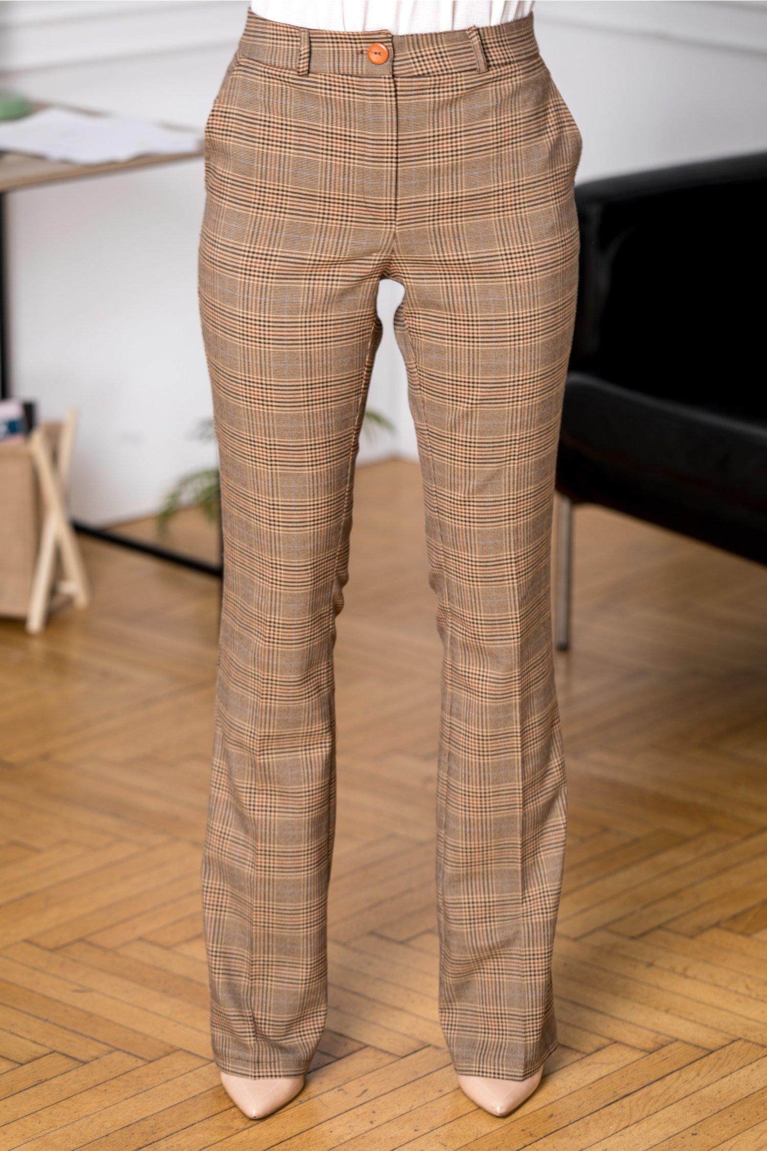 Pantaloni dama office crem cu carouri maro
