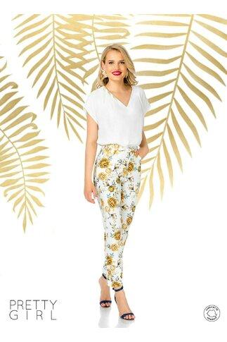 Pantaloni dama Pretty Girl ecru print floral