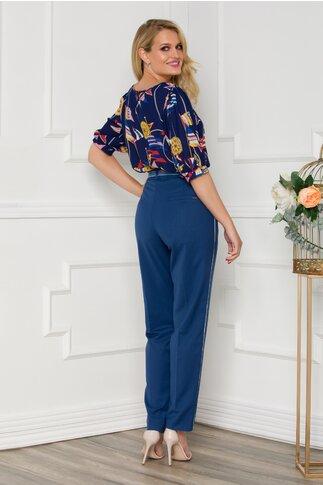 Pantaloni Daniela bleumarin cu dunga pe laterale si curea in talie