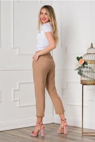 Pantaloni Dasy bej cu croi lejer