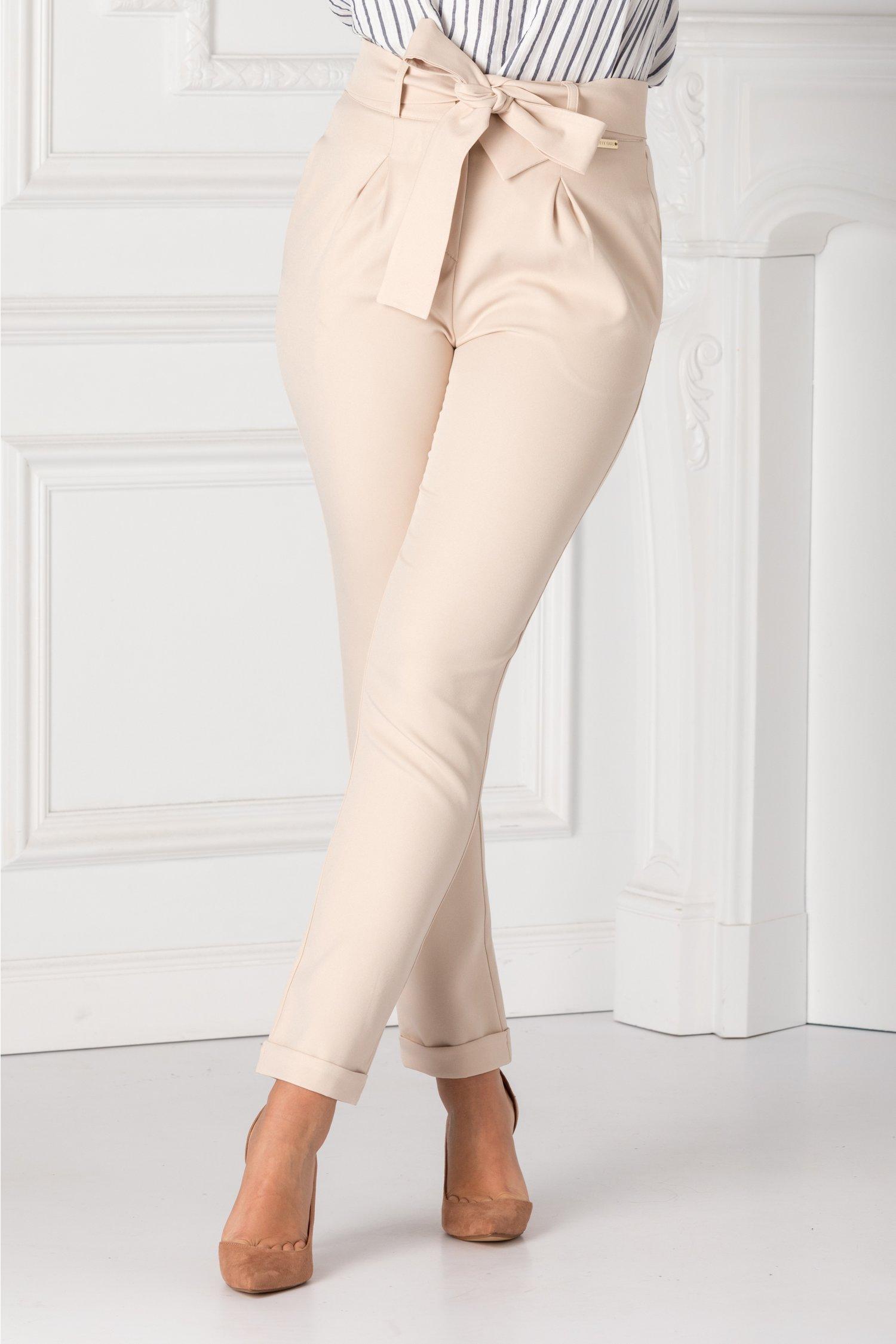 Pantaloni De Dama Bej Cu Cordon In Talie