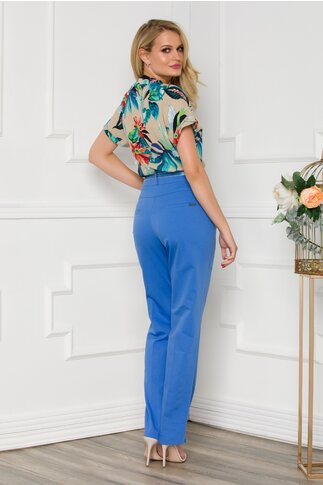Pantaloni Diana office albastri cu curea in talie