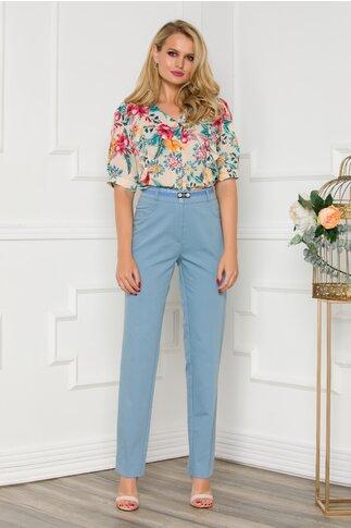 Pantaloni Diana office bleu cu curea in talie