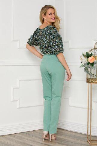 Pantaloni Diana office verzi cu curea in talie