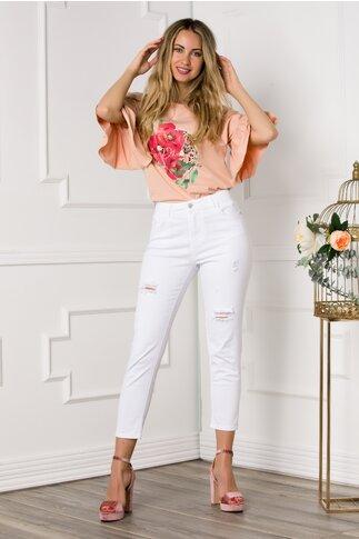 Pantaloni din denim albi cu zgarieturi