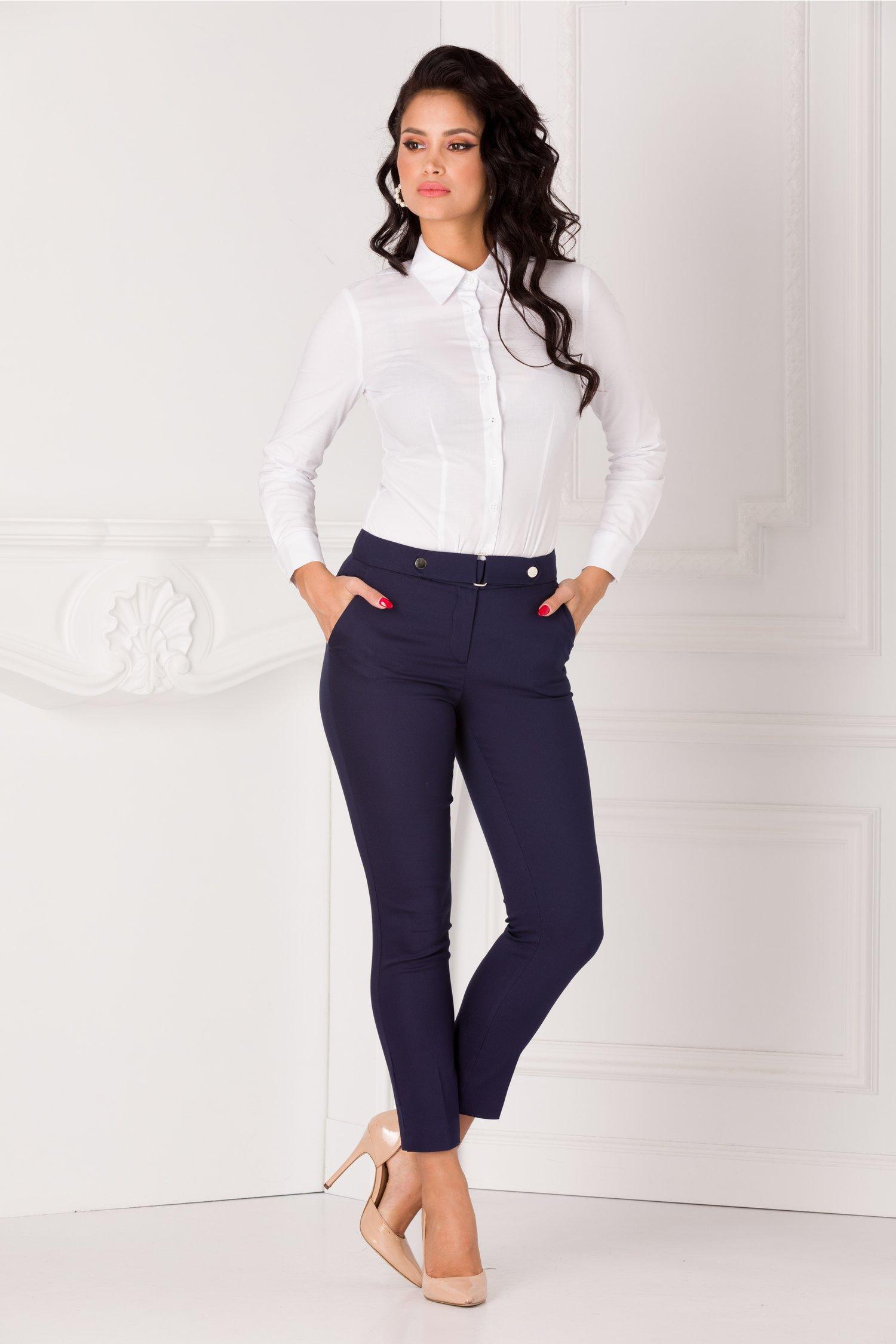 Pantaloni Dora bleumarin office